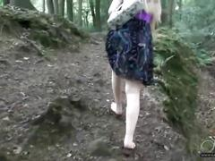 Katie kay has a wank in the forest