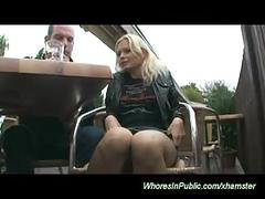 Horny couple fucks in public park