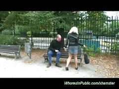 Horny couple fucks in public park