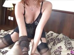 Vixen gives nylon handjob