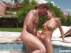 tattoo, babe, redhead, outdoor, deepthroat, big boobs, pussy licking, swimming area, cock riding, young busty, susan h