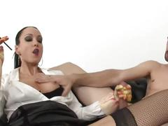 Sexy lady smoking with holder and sucking dick