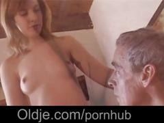 Teen catches old man wanking and gets horny involved