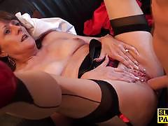 doggystyle, british, stockings, heels, mature, sperm, spanking
