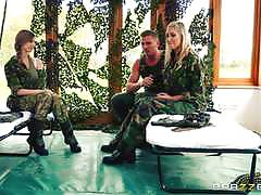Naughty army girls stella cox and lexi lowe take two dicks together