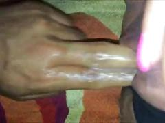Milf gets her creamy pussy fingered