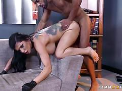 Randy romi rain fucks in hot tight catsuit