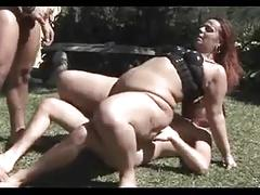 Bbw threesome outdoors