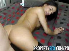 Propertysex - sexy latina agent cheers up client with squirting pussy sex