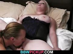 He licks and fucks her fat hole