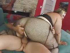 Bbw blonde gets pussy and mouth fucked
