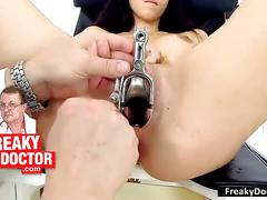 amateur, brunette, fetish, old/young, freakydoctor, european, gyno, medical, hospital, fingering, pussy-stretching, speculum, open-pussy, physical-exam, examination