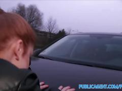 Publicagent gullible ginger fucked over a car