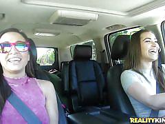 Lesbian babes enjoying their car ride in a better way