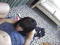 Asian slut sucks cock like a good girl