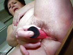 hairy, big ass, busty, dildo, brunette, saggy, bbw mature, in kitchen, old nanny, karla x