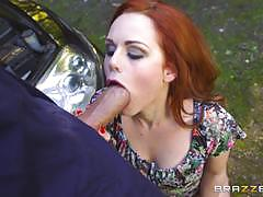 ella hughes, big dick, blowjob, riding, doggystyle, cumshot, anal, reverse cowgirl, outdoor, redhead, cowgirl, ass fuck, spooning, sucking