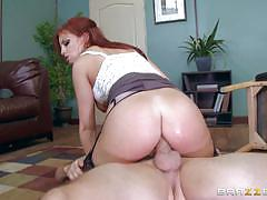 britney amber, blowjob, riding, doggystyle, cumshot, facial, anal, desk, office, reverse cowgirl, stockings, heels, redhead, work, cowgirl, ass fuck, pussy licking, suspenders, sucking