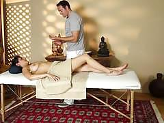 Charley chase gags on dick at the massage center
