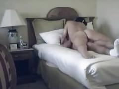 Loud brunette grinds some cock on hidden cam