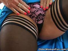British milf lelani strips off and masturbates in stockings