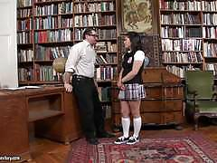 Cute schoolgirl pounded doggystyle