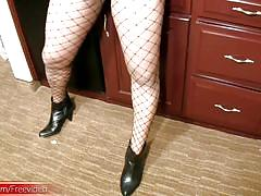 Black ts in fishnet stockings masturbates huge black cock