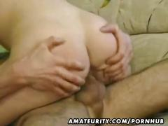 Hot blond amateur milf sucks and fucks with cum on tits