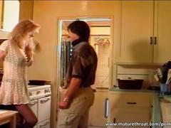 Big boobed mature slut gets fucked in the kitchen