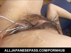 Kurumi katase has hairy crack aroused and fucked with vibrators