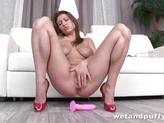 big tits, masturbation, toys, pissing, wetandpuffy, adult-toys, masturbate, solo, euro, european, fingering, dildo, orgasm, wet, closeup, brunette, stripping, big-boobs