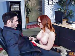 glasses, office, titjob, from behind, redhead babe, boobs groping, big tits at work, big tits at work, brazzers, charles dera, dani jensen