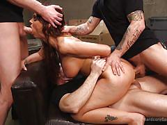 Slutty milf gets rough gangbang