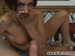 Amateur girlfriend full handjob with facial cumshot