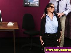 Brunette secretary facial