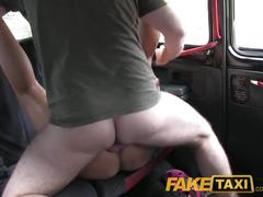 Faketaxi she is left with cum down her leg after backseat sex with driver