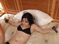 bondage, fetish, funny, tickling, foot-tickle-torture, kink, brunette, amateur, feet, foot, toe, small-tits, natural-tits