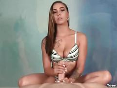 Super sexy brunette chick jerks off a cock