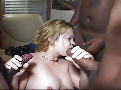 Thick chick sucks multiple black dicks