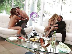 swingers, foursome, undressing, pussy rubbing, sucking tits, blonde babe, brunette babe, erotica x, melissa moore, rob x, alexa grace