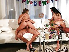 Two sluts celebrate new year by riding cocks