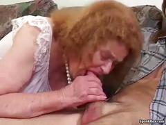 Toothless granny sucks and fucks