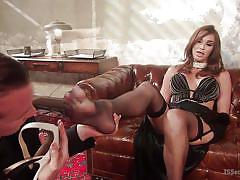 shemale, tranny babe, brunette, stockings, high heels, foot worship, seduction, ts seduction, kink, will havoc, jonelle brooks
