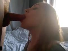 Dirty slut brunette sucking dick and eat cum