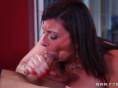sara jay, brunette, blowjob, riding, big tits, doggystyle, cumshot, facial, milf, reverse cowgirl, cowgirl, sucking