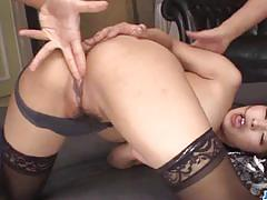 Asian babe takes 2 hard cocks