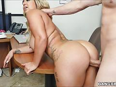nina kayy, blowjob, riding, doggystyle, blonde, busty, desk, office, table, voluptuous, curvy, cowgirl, sucking