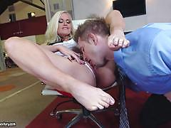 alena croft, blowjob, feet, doggystyle, cumshot, blonde, busty, chair, heels, fetish, sucking, foot, licking pussy