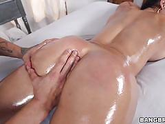 Diamond kitty rides her hot oiled up body on a hard cock