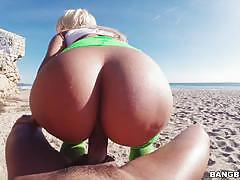 Huge ass blondie fesser fucked hard at the beach